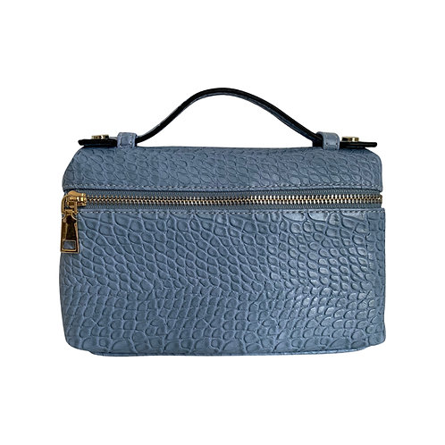 "Allure Blue Large ""Croco"" Zipped Clutch"