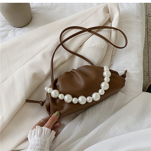 Allure Brown Pearl Mini Pouch Bag