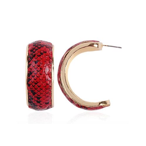 Milanetta Red Snakeskin Print Hoop Earrings