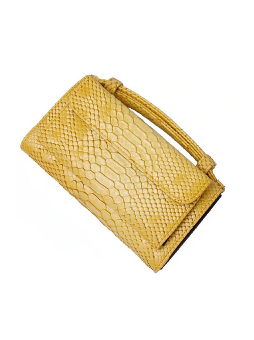 "Allure Yellow ""Serpent"" Wallet On Chain & Clutch Bag"