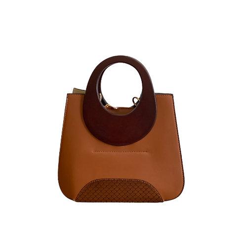 Sateen Brown Wood Top Handle Bag