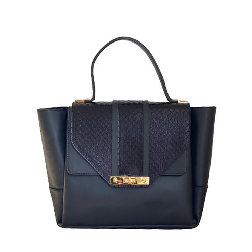 Sateen Black Large Python Detail Handbag