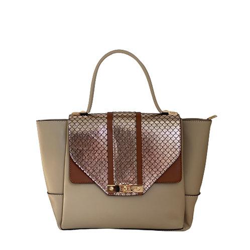Sateen Beige Large Python Handbag