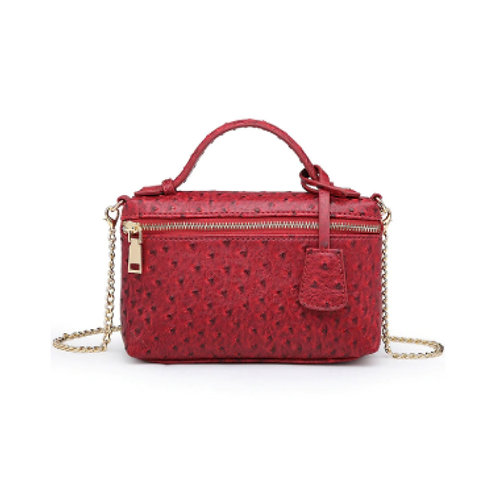 "Allure Red ""Ostrica"" Zipped Shoulder Bag"