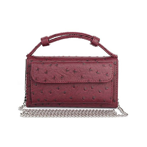 """Allure Maroon """"Ostrica"""" Wallet On Chain & Clutch Bag"""