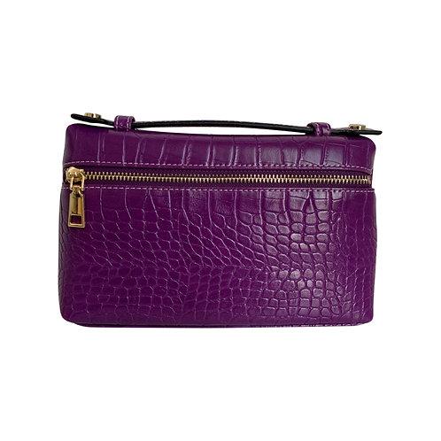 """Allure Purple Large """"Croco"""" Zipped Clutch"""