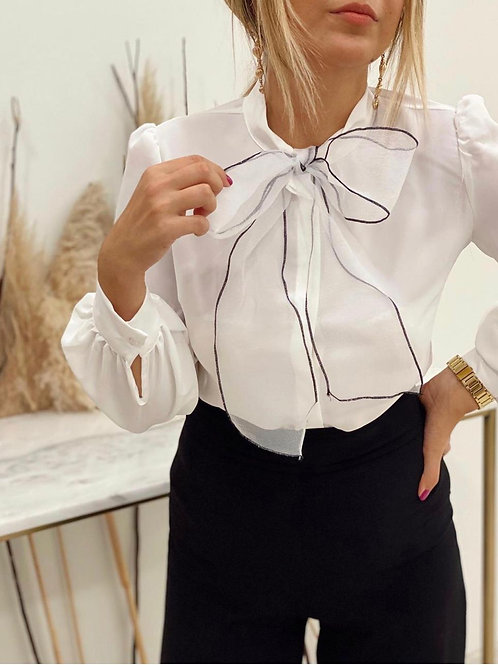 Sateen Bow Detail Blouse