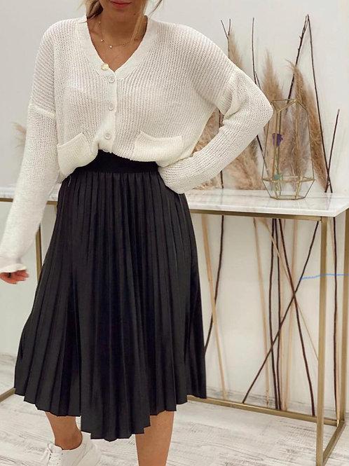 Sateen Black Faux Leather Pleated Midi Skirt