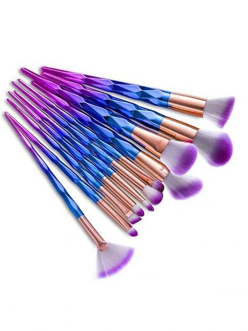 Milanetta Set Of Twelve Unicorn Ombré Make-Up Brushes