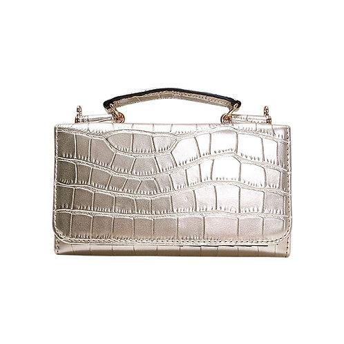"Allure Gold ""Croco"" Wallet On Chain & Clutch Bag"