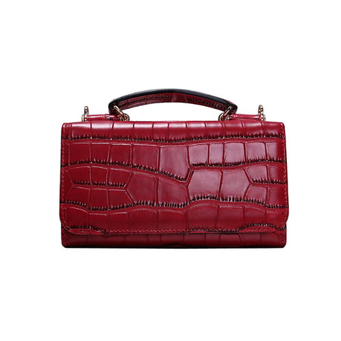 """Allure Red """"Croco"""" Wallet On Chain & Clutch Bag"""