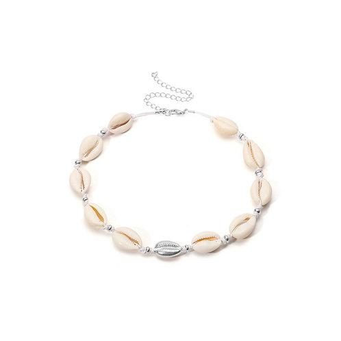 Milanetta Cowrie Seashell & Silver Detail Choker