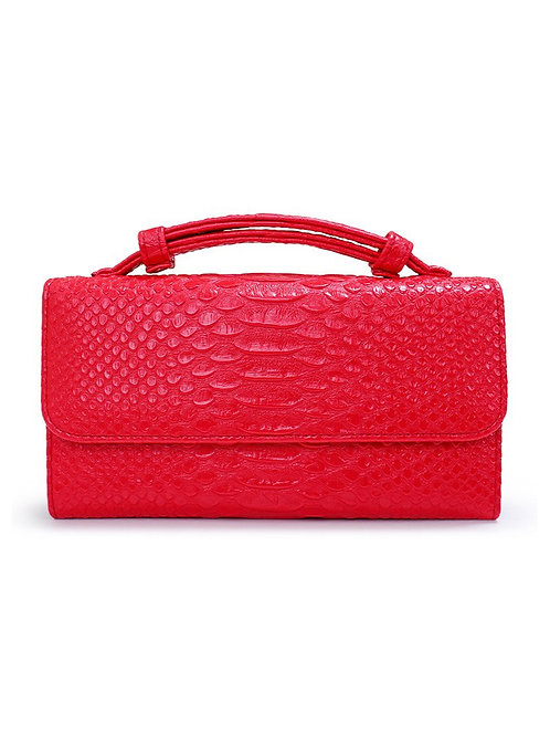 """Allure Red """"Serpent"""" Wallet On Chain & Clutch Bag"""