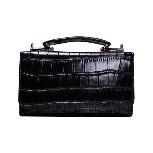"Allure Black ""Croco"" Wallet On Chain & Clutch Bag"