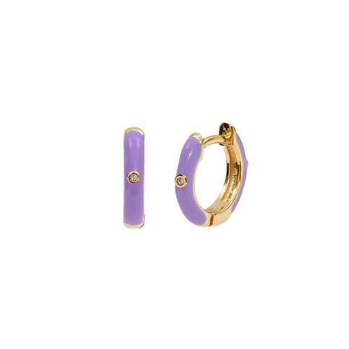 18K Gold Plated Purple Mini Hoops