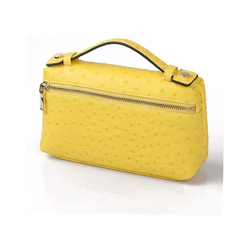 """Allure Yellow Large """"Ostrica"""" Zipped Clutch"""