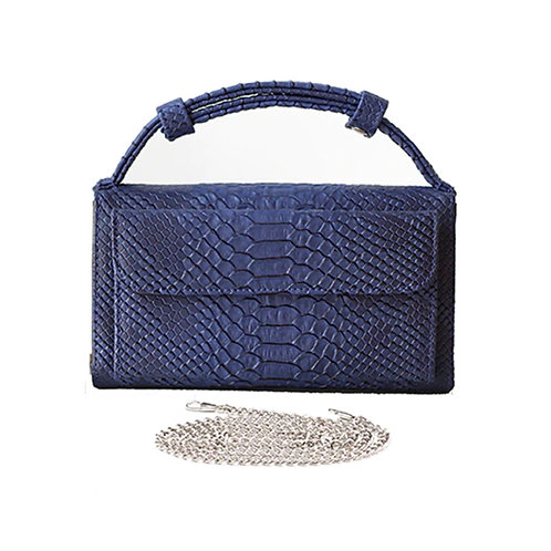 "Allure Blue ""Serpent"" Wallet On Chain & Clutch Bag"
