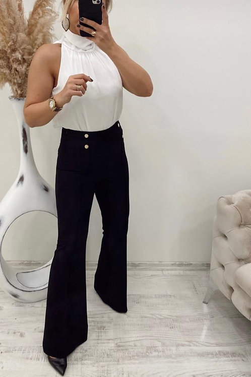 Sateen Black Flare Trousers