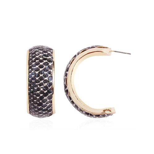Milanetta Black Snakeskin Print Hoop Earrings