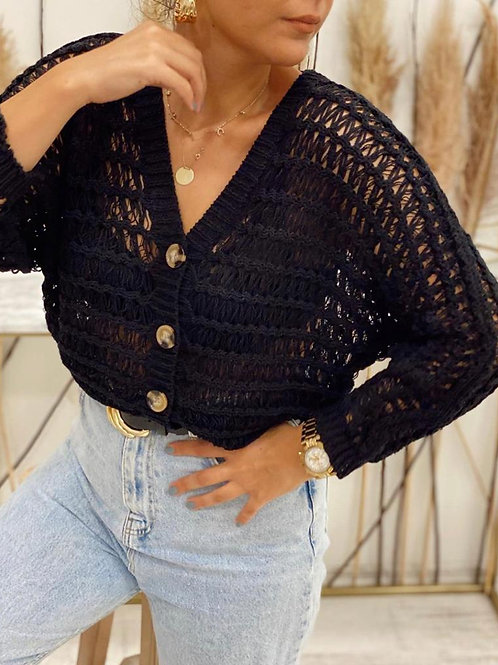 Sateen Black Knitted Cardigan