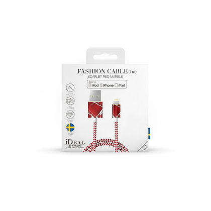iDeal Of Sweden Fashion Lightning Cable, 1M Scarlet Red Marble