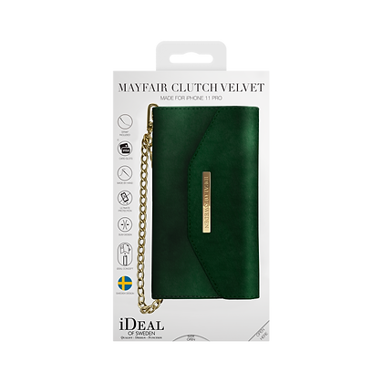 iDeal Of Sweden Mayfair Clutch Velvet iPhone 11 Pro, Green