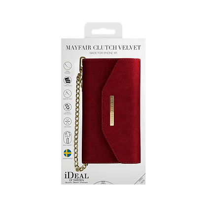 iDeal Of Sweden Mayfair Clutch Velvet iPhone XR, Red
