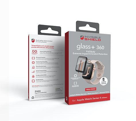 InvisibleShield Apple Watch Series 4/5 (40mm) Glass Fusion 360 with Bumper