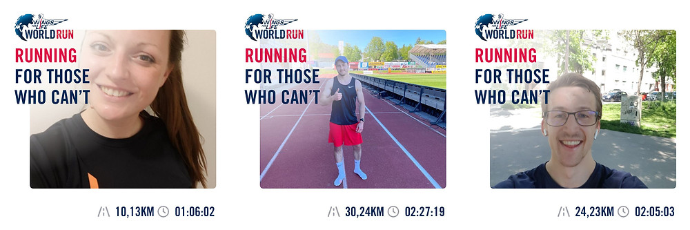 Katerina (10,13 Kilometer), Patrick (30,24 Kilometer) und Simon (24,23 Kilometer) mit ihren Finisher Bildern vom Wings For Life World Run