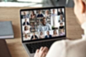 Back view of female employee speak talk