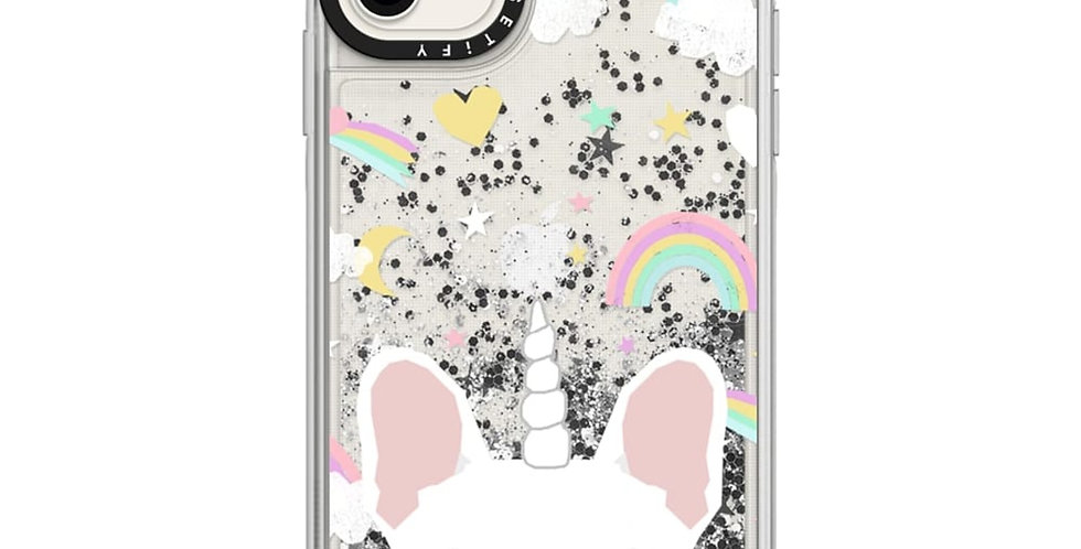 Casetify Glitter Case iPhone 11, Monochrome Silver French Bulldog Unicorn