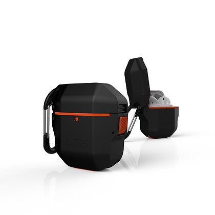 UAG AirPods 1/2 Water/Dust Resistant Tight Seal Hardcase Case, Black/Orange