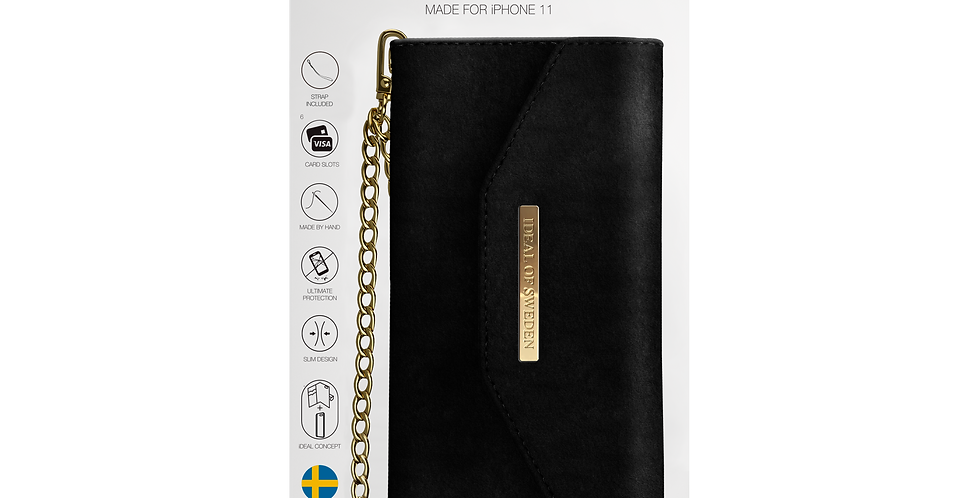 iDeal Of Sweden iPhone 11 Mayfair Clutch Velvet, Black