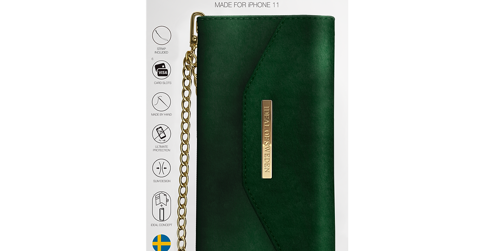 iDeal Of Sweden iPhone 11 Mayfair Clutch Velvet, Green