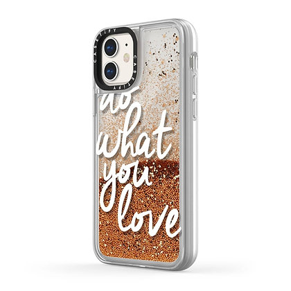Casetify Glitter Case iPhone 11, Gold Chrome Do What You Love