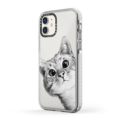 Casetify Impact Case iPhone 11, Peekaboo Cat On Rose Gold