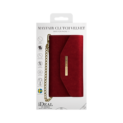 iDeal Of Sweden Mayfair Clutch Velvet iPhone 11, Red