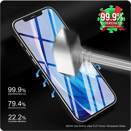 "Devia iPhone 12 mini 5.4"" Tempered Glass, Anti-bacterial Black"