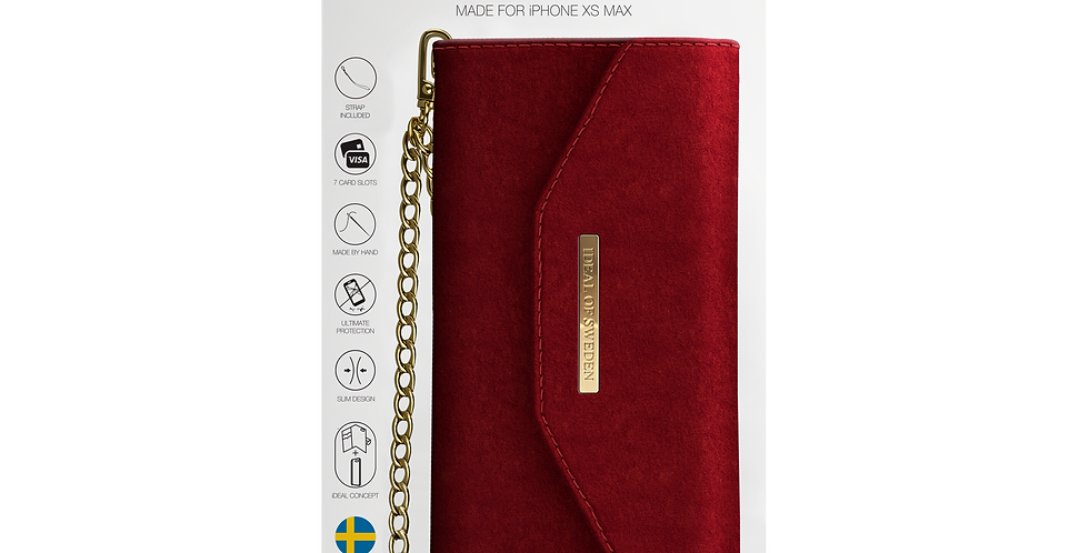 iDeal Of Sweden iPhone Xs Max Mayfair Clutch Velvet, Red