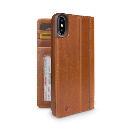 Twelve South Journal Leather Wallet Case iPhone X/Xs, Cognac