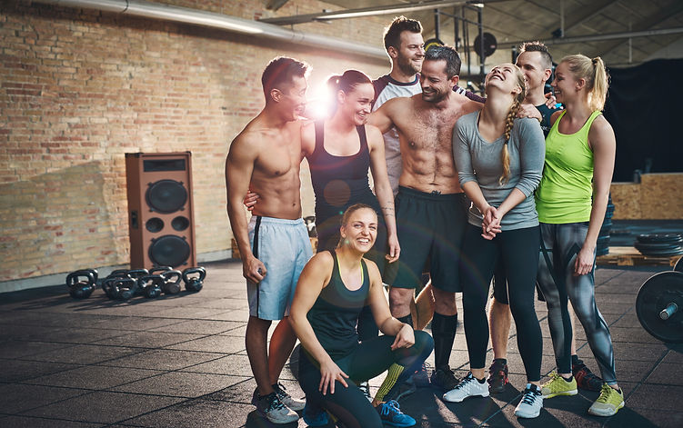 Group of eight happy muscular female and