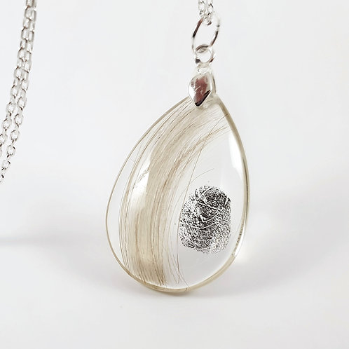 Fingerprint Pendant - Lock of Hair Keepsake