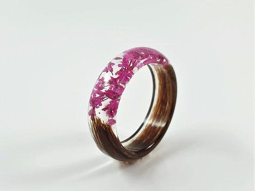 Hair Keepsake Ring with Pink Flowers