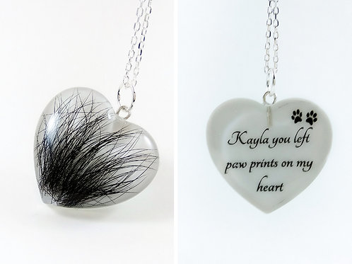 Double Sided Hair Keepsake - You Left Paw Prints On My Heart