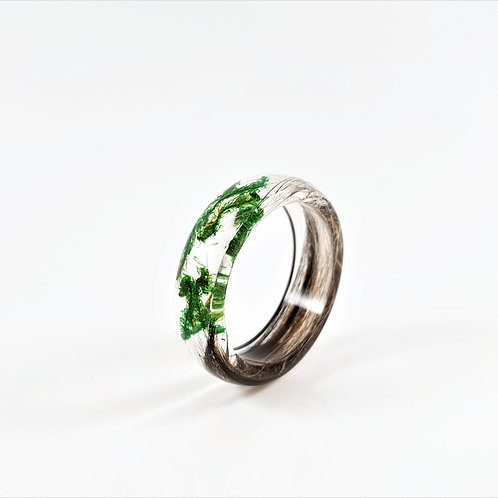 Hair Keepsake Ring with Green Forest Moss
