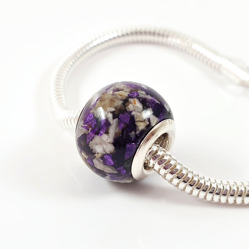 Cremation Ashes European Bead with Crushed Purple Crystals