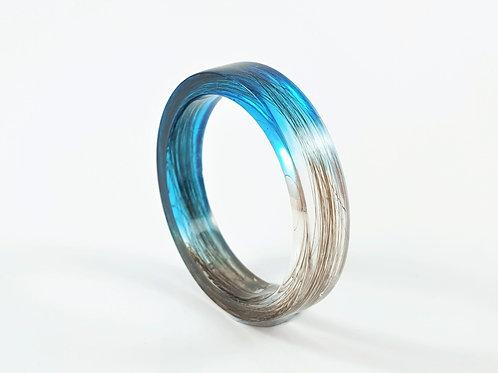 Lock of Hair Keepsake Memorial Ring - Light Blue
