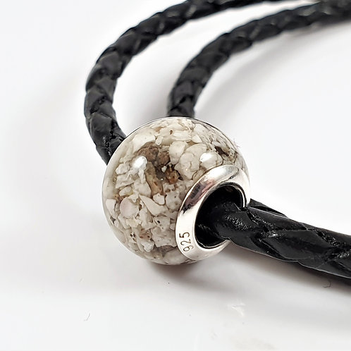 Cremation Ashes European Bead - Braided Leather Bracelet