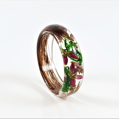 Lock of Hair Keepsake Ring with Heather and Moss