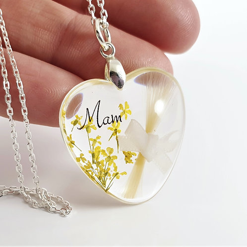 Heart Hair Locket With Bow and Flowers- Mum Memorial Necklace